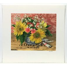 Sunflowers lithograph by Audean Johnson with full margins shown