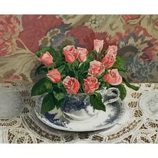 Tea Roses in a Tea Cup lithograph by Audean Johnson