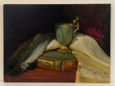 Fine Feather Friends oil painting by Louise Hafesh with full margins shown