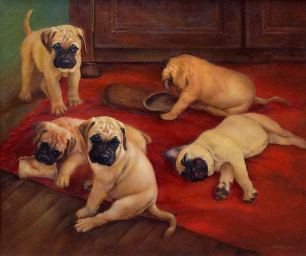 Painting of Bull Mastiff Pups